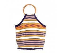 Bamboo bag Small yellow and purple Bamboo handbag Babachic by Moodywood