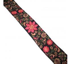 Broderies Broderie en soie noire et rose - 50 mm babachic