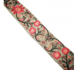 Embroidery Silk border beige and pink - 50 mm babachic
