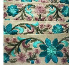 Broderies Broderie en soie beige et turquoise - 50 mm babachic