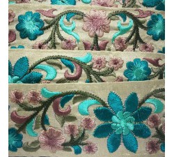 Embroidery Silk border beige and turquoise - 50 mm babachic