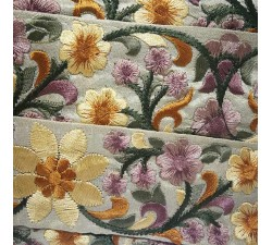 Embroidery Silk border beige and yellow - 50 mm babachic