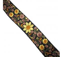 Broderies Broderie en soie noire et jaune - 50 mm babachic