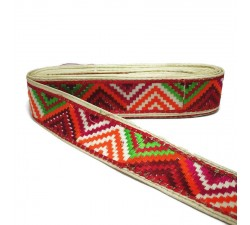 Embroidery Green, red and pink zigzag border - 45 mm babachic