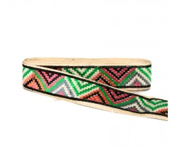 Embroidery Green, black and orange zigzag border - 45 mm babachic