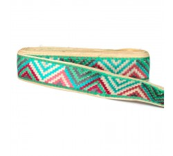 Embroidery Pink and blue zigzag border - 45 mm babachic