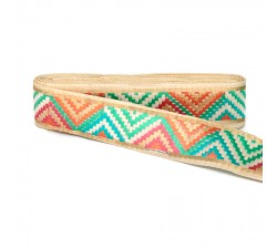 Embroidery Pink and turquoise zigzag border - 45 mm babachic