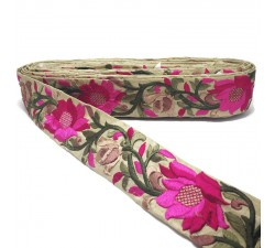 Broderies Bordure Soie Lys fuschia - 45 mm Babachic by Moodywood