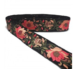 Embroidery Black and salmon Lily silk border - 45 mm Babachic by Moodywood