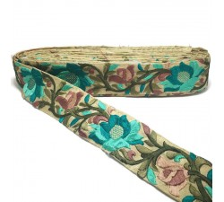 Broderies Bordure Soie Lys turquoise - 45 mm Babachic by Moodywood