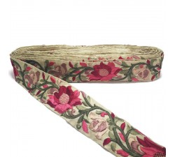 Embroidery Red Lily silk border - 45 mm Babachic by Moodywood