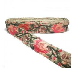 Embroidery Salmon Lily silk border - 45 mm Babachic by Moodywood