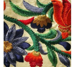 Broderies Broderie indienne en soie orange et bleue 80 mm de largeur Babachic by Moodywood