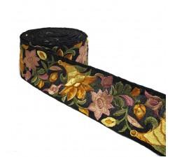 Broderies Bordure brodée en soie jaune et noire 7 cm de large Babachic by Moodywood
