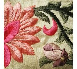 Broderies Bordure brodée en soie rose et beige 7 cm de large Babachic by Moodywood