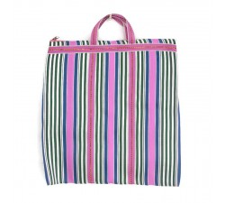 Tote bags Pink, green and blue Indian striped simple bag Babachic by Moodywood