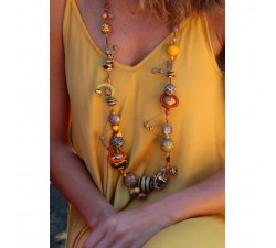 Necklaces Mid length brown spirals necklace Babachic by Moodywood