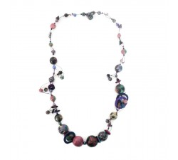 Colliers Collier à spirales mi long noir aubergine Babachic by Moodywood