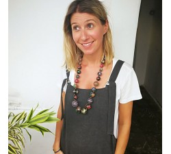 Necklaces Short necklace in black eggplant wooden beads Babachic by Moodywood
