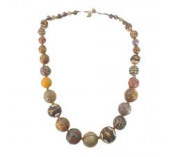 Colliers Collier court en perles en bois marron orangé Babachic by Moodywood