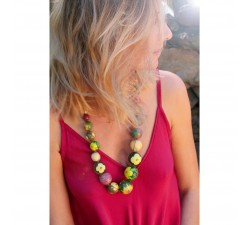 Colliers Collier court en perles en bois vert Babachic by Moodywood