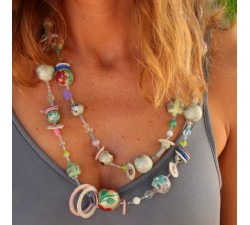 Necklaces Fancy long necklace grey silvered Babachic by Moodywood