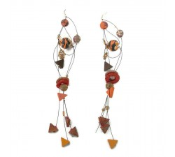 Earrings Orange brown extra long earrings Babachic by Moodywood