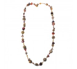 Colliers Collier moyen marron orangé Babachic by Moodywood