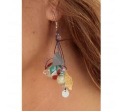 Boucles d'oreilles Boucles d'oreilles 5 cm argenté et rouge Babachic by Moodywood