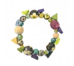 Bracelets Green wooden beads Bohemian bracelet Babachic by Moodywood