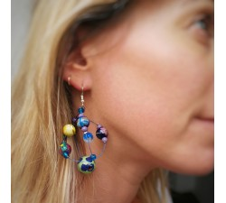 Earrings Round yellow and blue earrings Babachic by Moodywood