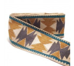 Embroidery Embroidered ribbon Peru beige and grey - 90 mm babachic