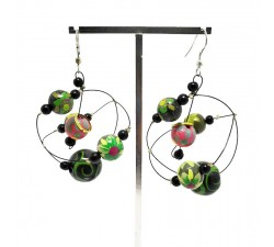 Earrings Round dark green earrings Babachic by Moodywood