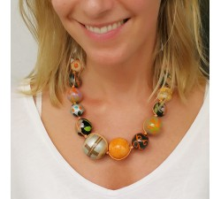 Colliers Collier boules couleur marron orangé Babachic by Moodywood