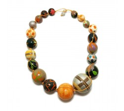 Necklaces Orange brown wooden beads necklace Babachic by Moodywood