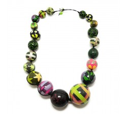 Necklaces Dark green wooden beads necklace Babachic by Moodywood