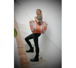 Tote bags Cabas simple orange et noir Babachic by Moodywood