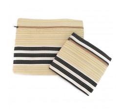 Estuches Duo de pochettes simples á zip jaune pâle et noir Babachic by Moodywood
