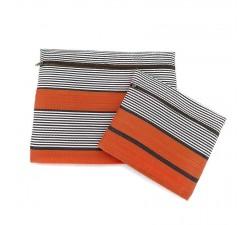 Cases Duo de pochettes simples á zip orange et noir Babachic by Moodywood