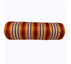 Home Canvas of recycled plastic fabris in yellow, red, white and purle stripes, new material for the making of bags