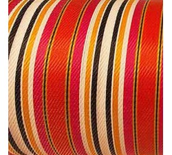 Home Canvas of recycled plastic fabrics in orange, fuscia, white, black and yellow stripes