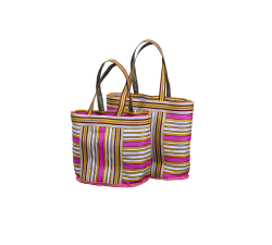 Home NEW BEACH CABAS yellow, pink white