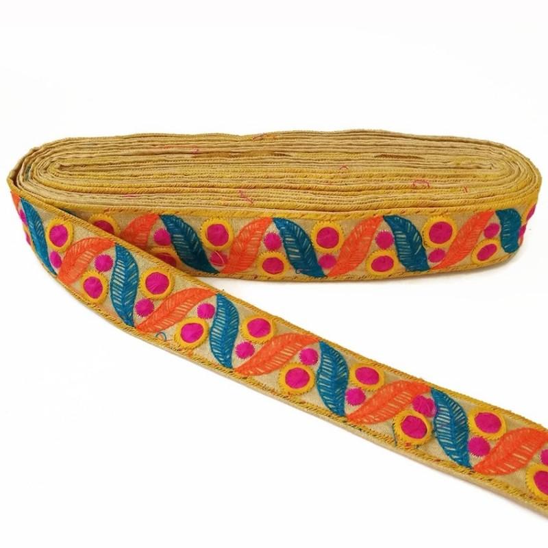 Cinta bordada de hojas y pequeños círculos rellenos - Azul, naranja y fucsia - 35 mm