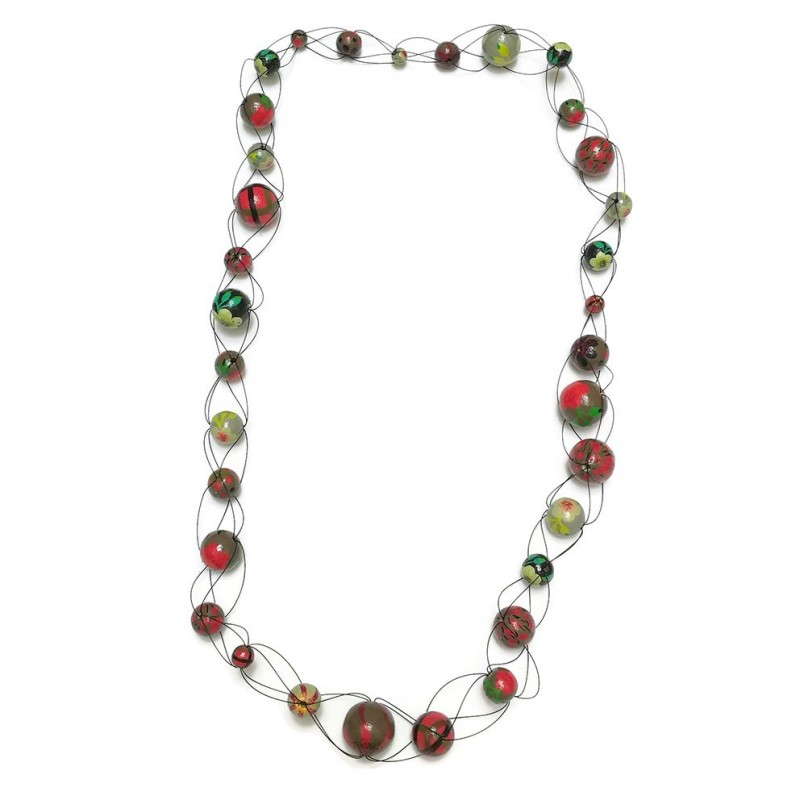 Collier long maille rouge/vert - Winter nights