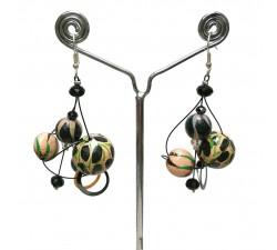 Earrings Twist Beige/black earrings - 4 cm - Winter nights Babachic by Moodywood