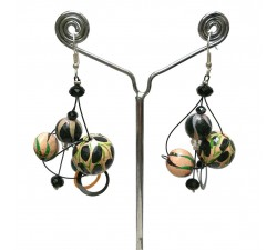 Boucles d'oreilles Boucles Twist beige/noir - 4 cm - Winter nights Babachic by Moodywood